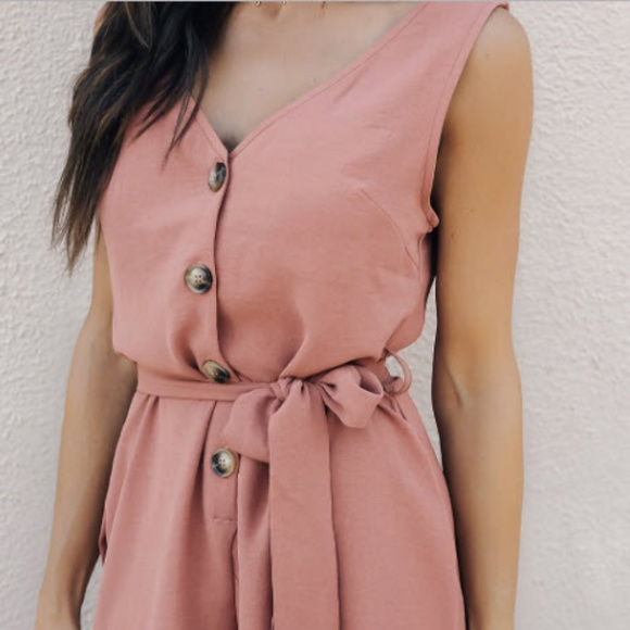 Pink Buttoned Up Belted Romper